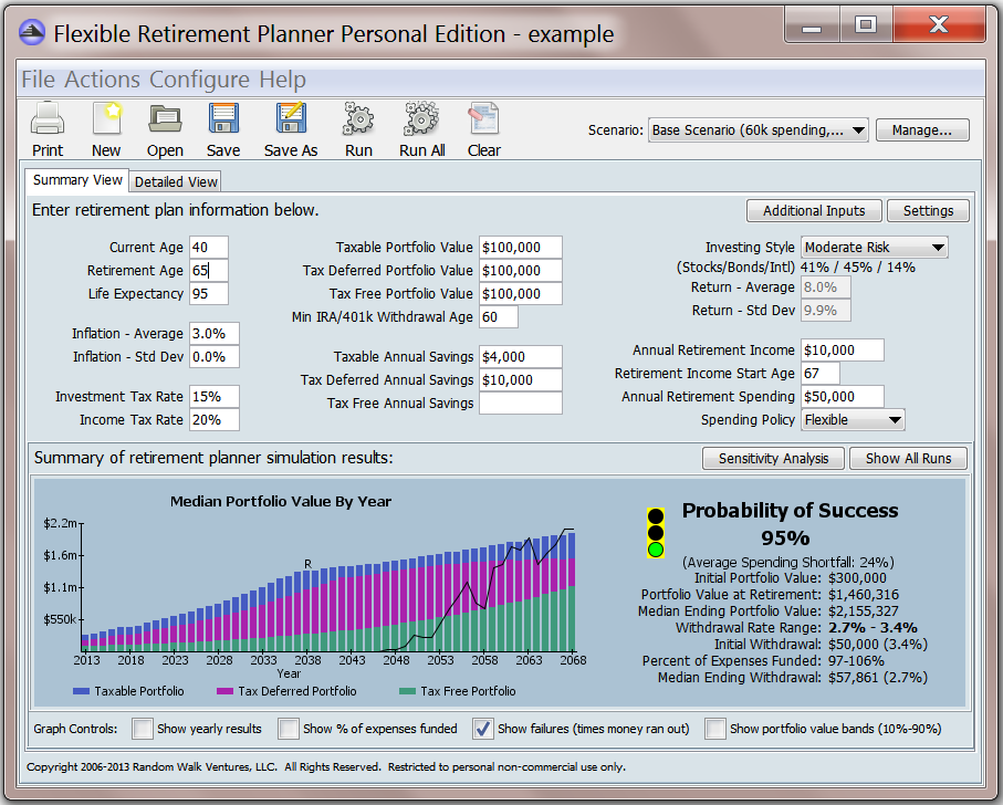 Screenshot of the Flexible Retirement Planner standalone application